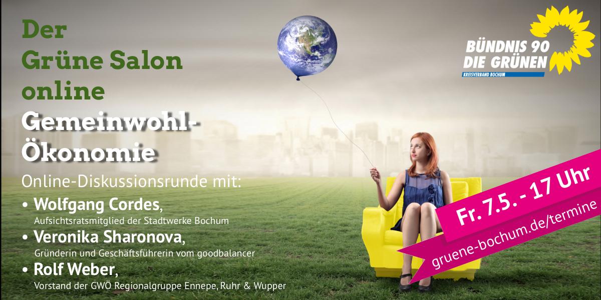 Beschreibung der Veranstaltung wie im Text, Frau sitzt in gelbem Sessel auf grüner Wiese vor einer grauen Stadt voller Smog. Sie Hält einen Ballon in der Hand, der wie die Erde aussieht.