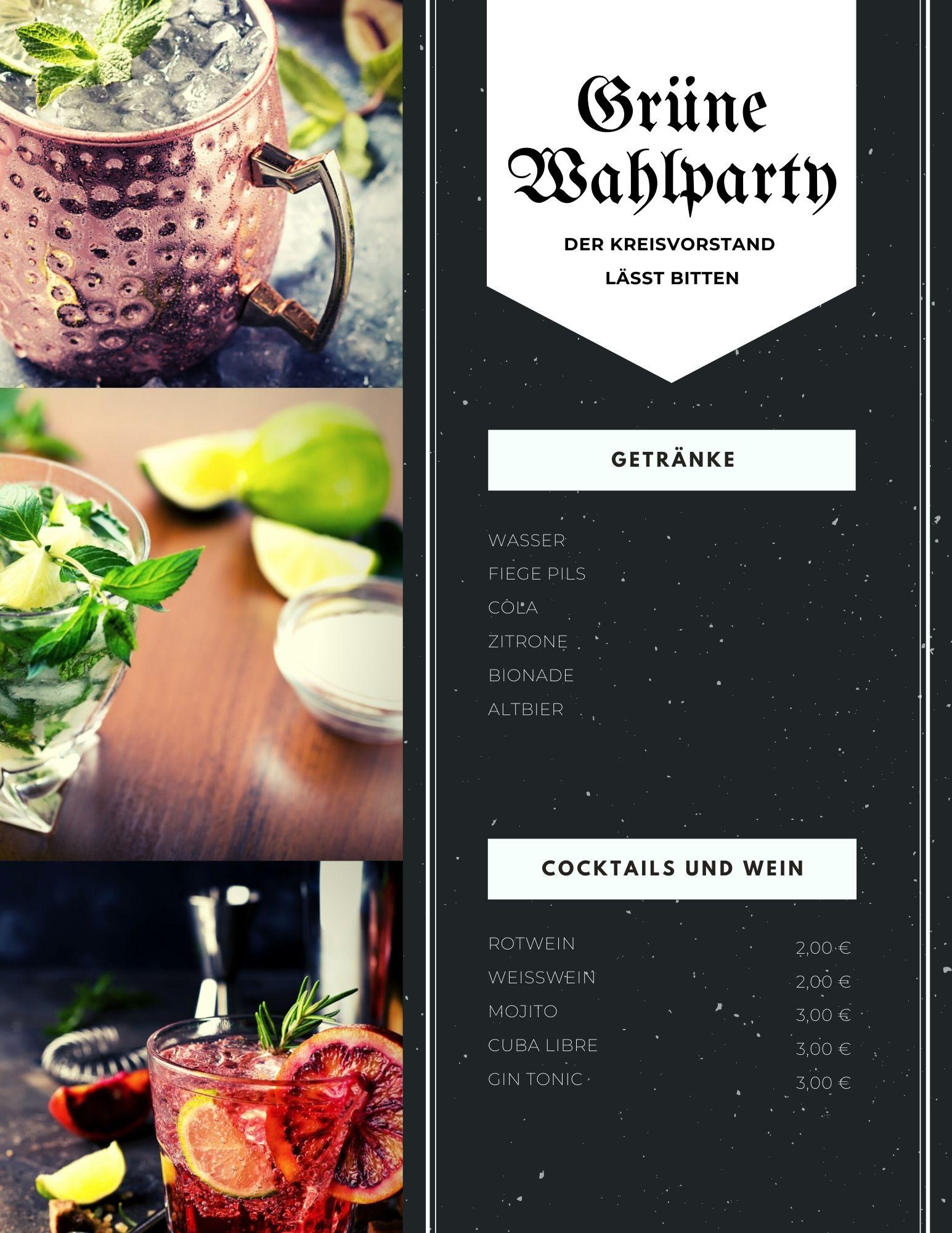 Schwarz Grunge Bar Getränkekarte